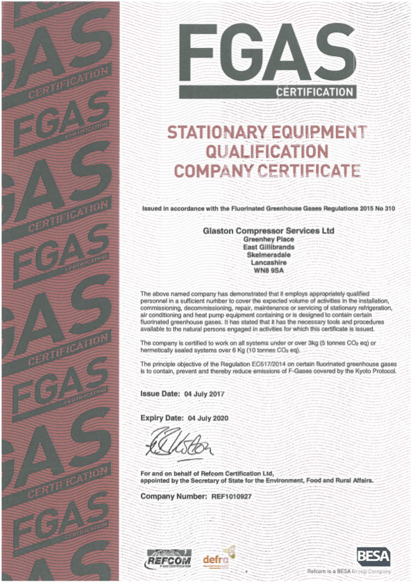 Glaston Compressor Services FGAS certification for stationary equipment qualification