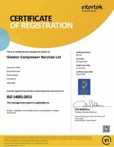 Glaston Compressor Services ISO 14001:2015 Intertek certificate of registration