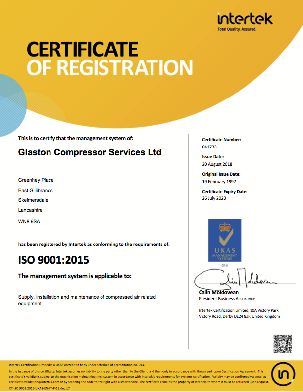 Glaston Compressor Services ISO 9001:2015 Intertek certificate of registration