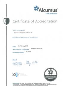 Glaston Compressor Services Safecontractor certificate of accreditation