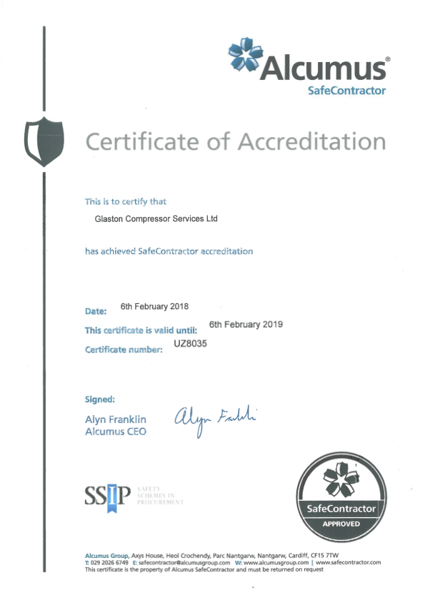 Glaston Compressor Services Safecontractor certificate of accreditation